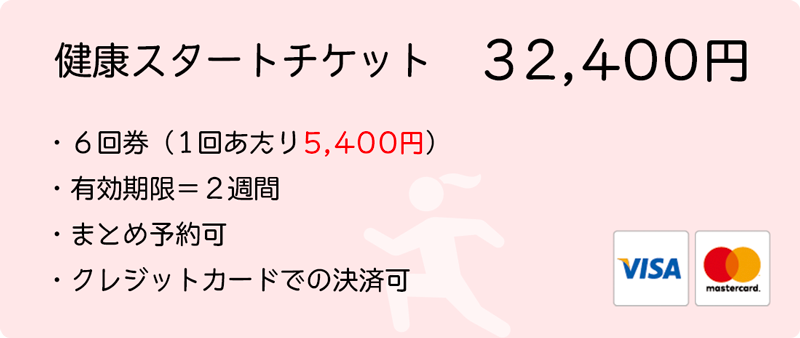 健康スタートチケット 6回分 32400円