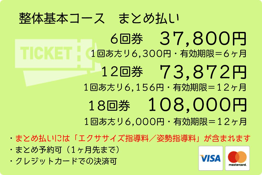 整体基本コースまとめ払い 6回分37800円 12回分73872円 18回分108000円